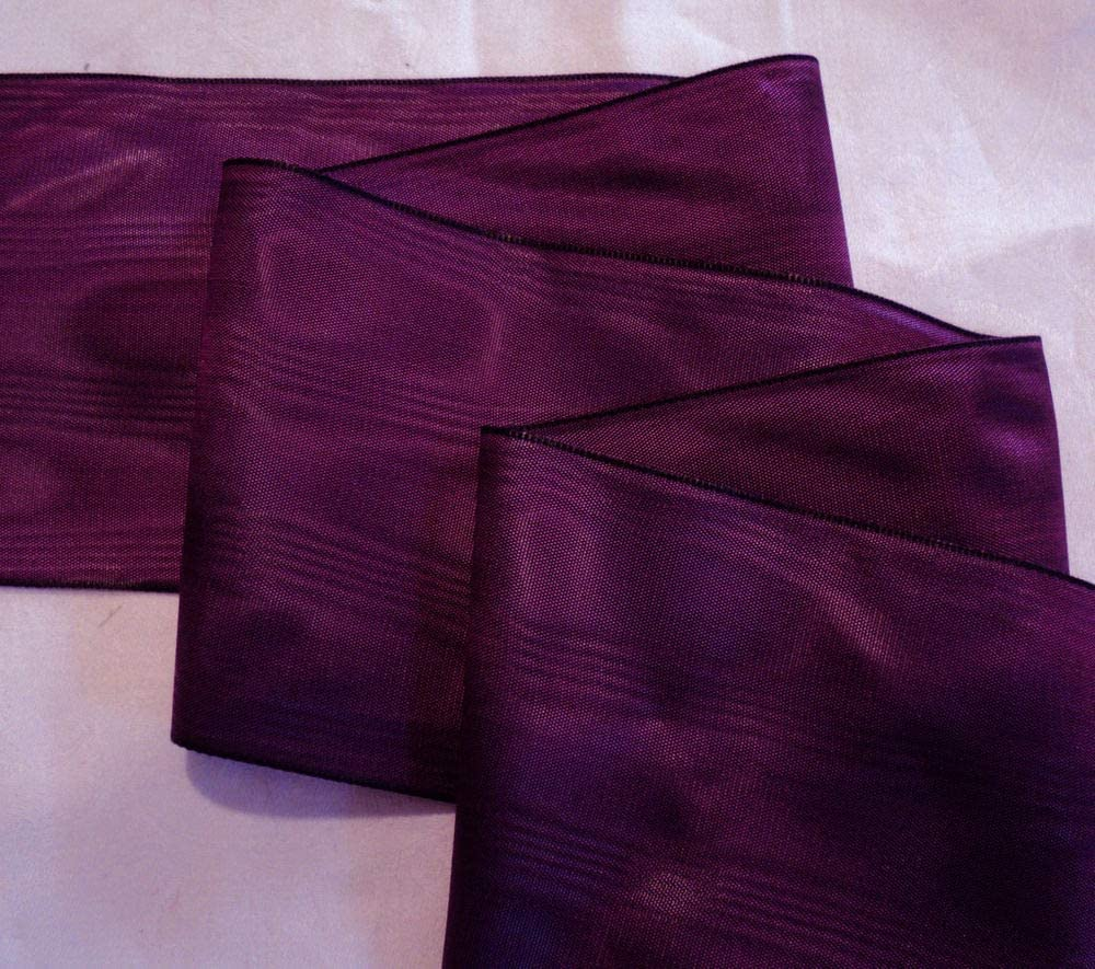 """MADE IN GERMANY 3/"""" RAYON MOIRE/' RIBBON MAGENTA"""