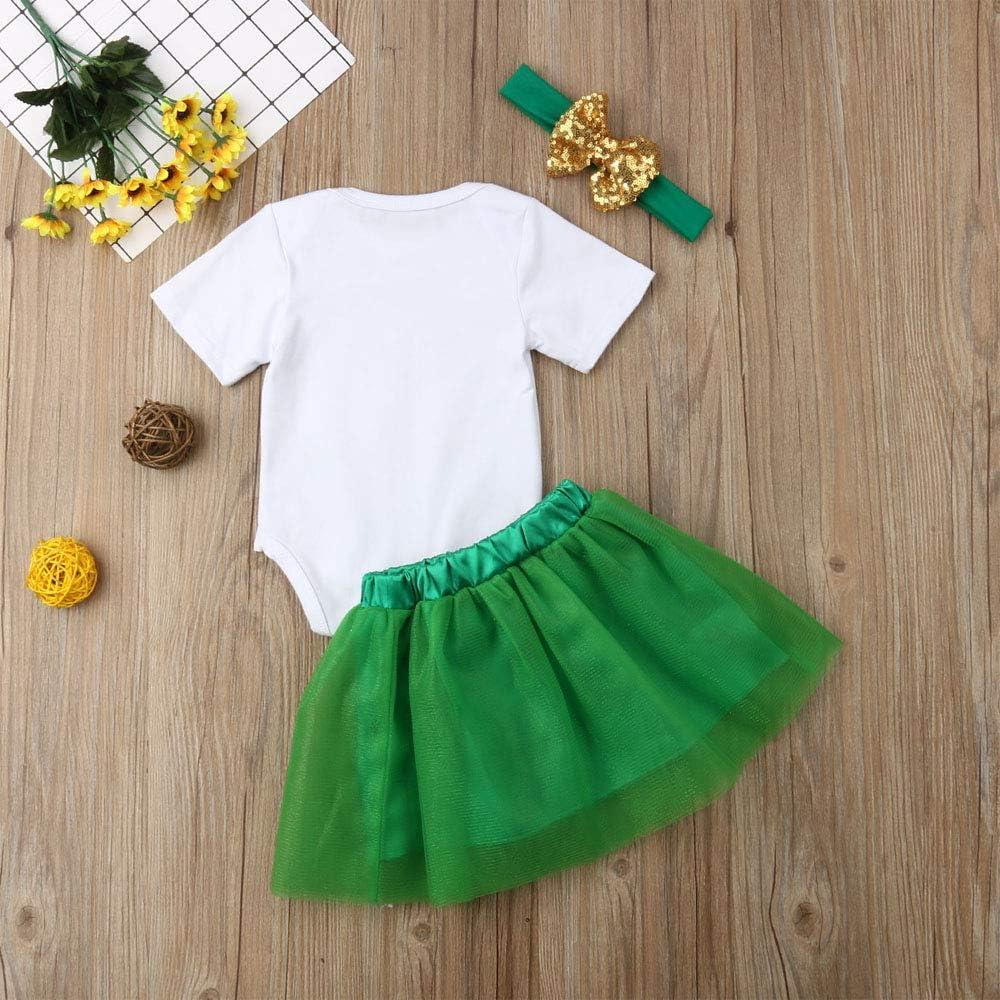 Patricks Day Letter Print Outfits Girls Lucky Charm Leaf Bodysuit Tops Skirt Clothing Set 3PCS Funny Baby Girls St