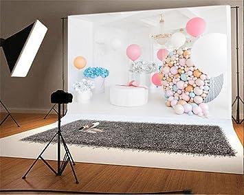 YongFoto 1,5x1m Vinilo Fondo de Fotografia Interior Flores de Papel Globos Regalos Droplight Cumpleaños Niña Princesa Telón de Fondo Fiesta Niños Boby ...