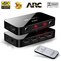 4X1 HDMI Switch with Audio Optical TOSLINK Out, NewBEP 4K Ultra HD 4 Port 4Kx2K HDMI Switcher Box Selector Audio Extractor Splitter with IR Remote [Support ARC | 3D 1080p] for Mackbook HDTV Laptop Etc