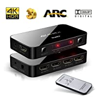 4X1 HDMI Switch with Audio Optical TOSLINK Out, NewBEP 4K Ultra HD 4 Port 4Kx2K HDMI Switcher Box Selector Audio Extractor Splitter with IR Remote [Support ARC   3D 1080p] for Mackbook HDTV Laptop Etc
