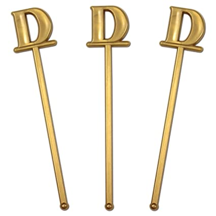 royer 6 wedding monogram letter d swizzle sticksstirrers bold font gold