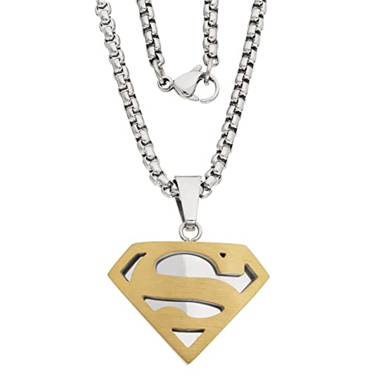 Dc Comics Mens Jewelry Superman Stainless Steel Two Tone Pendant