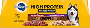 PEDIGREE High Protein Adult Canned Soft Wet Dog Food Variety Pack, Chopped Beef & Bison Flavor and Chopped Chicken & Duck Flavor, (12) 13.2 oz. Cans