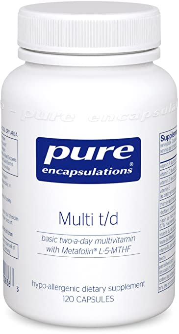 Pure Encapsulations - Multi T/D - Hypoallergenic Multivitamin/Mineral Formula Providing a Concentrated Core of Nutrient Essentials - 120 Capsules
