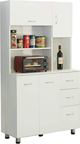 Amazon Com Basicwise Kitchen Pantry Storage Cabinet With Doors And Shelves White Furniture Decor