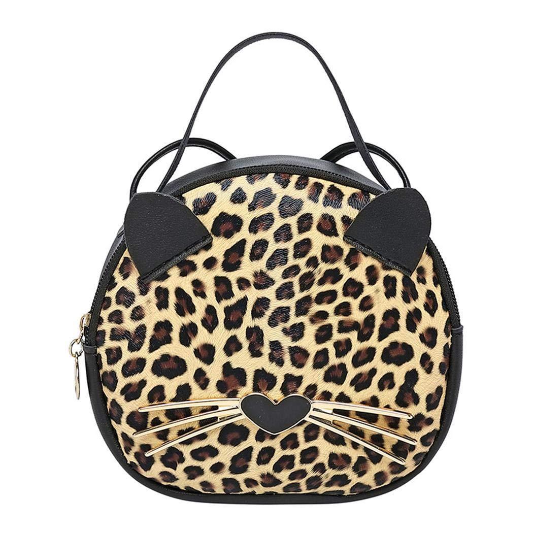 pioleUK Nuevo bolso de mano del bolso de hombro del leopardo del animal de la historieta de las mujeres de la moda Bolsos bandolera