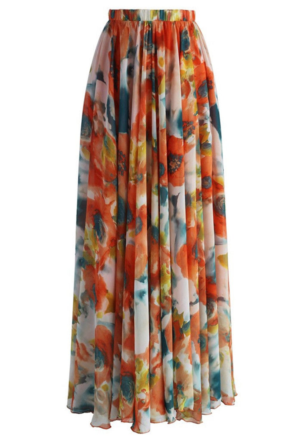 Summer Beach Party Skirt Floral Print Chiffon Long Maxi Skirt Boho Multi M
