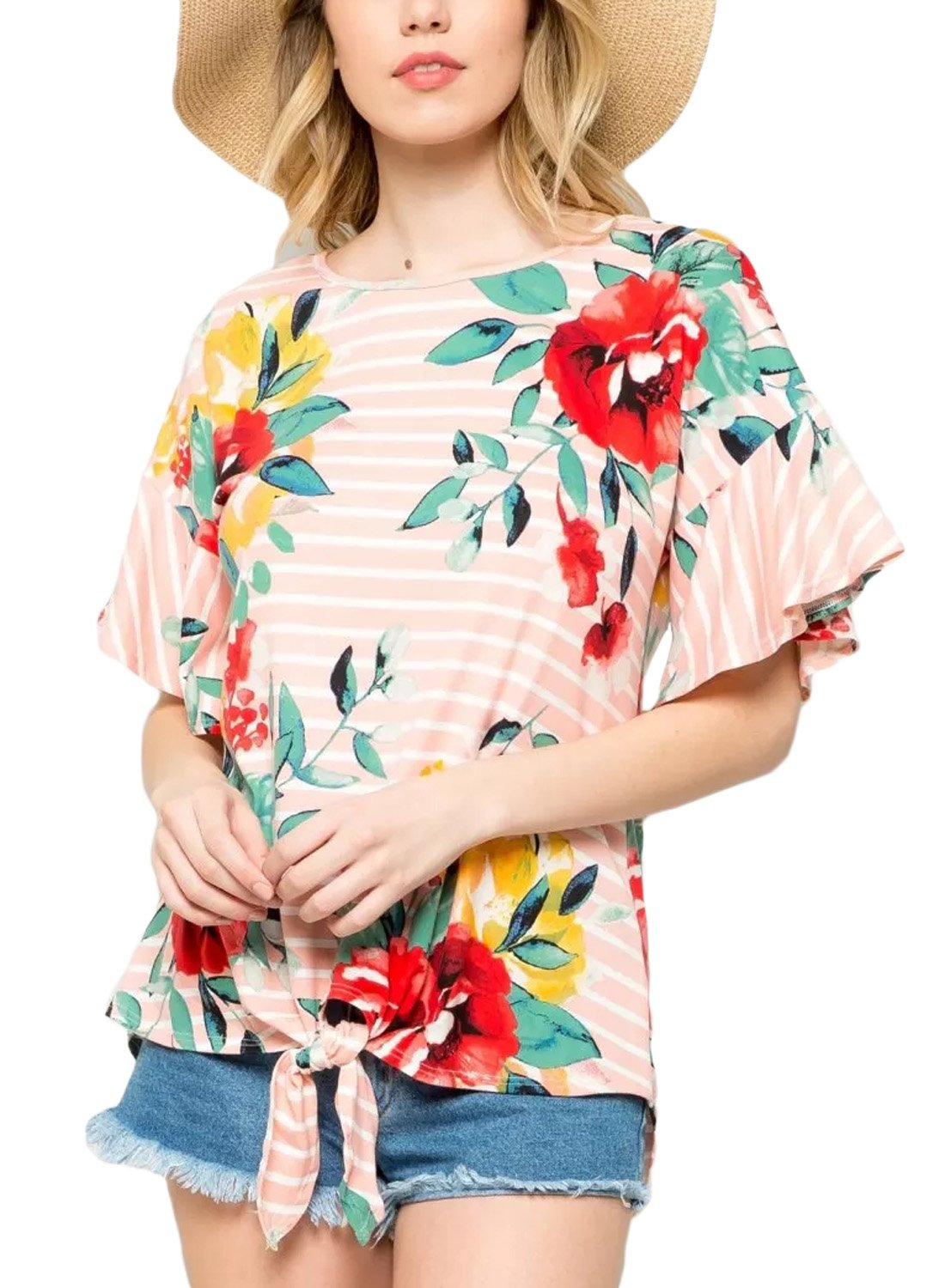 HOTAPEI Women's Floral Stripe Hawaiian Bow Short Sleeve Tunic Tops T-Shirt Summer Casual Blouses for Women Large