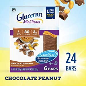Glucerna Mini Treats, 24Count, for People with Diabetes to Help Manage Blood Sugar, with Carbsteady & Essential Vitamins & Minerals, 80 Calorie, Chocolate Peanut, 0.70 Oz