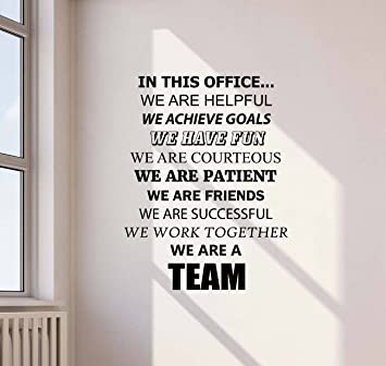 Gentil In This Office Wall Decal We Are Team Work Inspirational Gift Lettering  Vinyl Sticker Motivational Decor