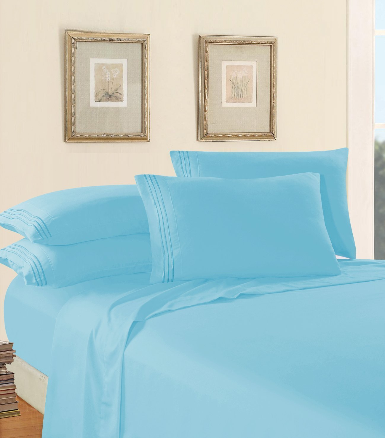 Luxury Bed Sheet Set on Amazon! Elegant Comfort Three-Line Design 1500 Thread Count Egyptian Quality Wrinkle and Fade Resistant 4-Piece Bed Sheet set, Deep Pocket, Full, Aqua Blue
