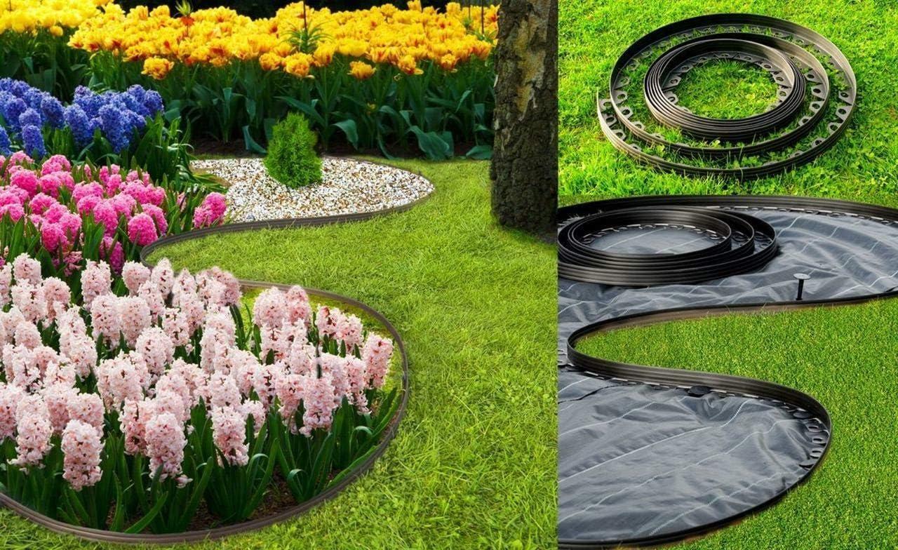 KB Tools - Ribete de plástico flexible para jardín (10 a 100 m, con pinzas de fijación fuertes, bordes de césped, bordes flexibles para césped, bordes de plástico para césped, ideas de