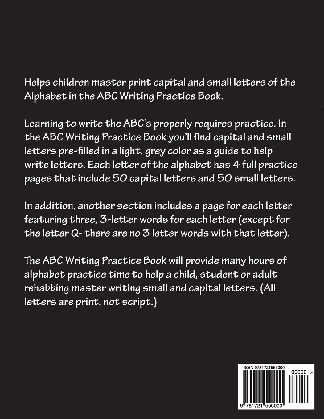 Abc Writing Practice Book Help Your Child Master Print Capital And