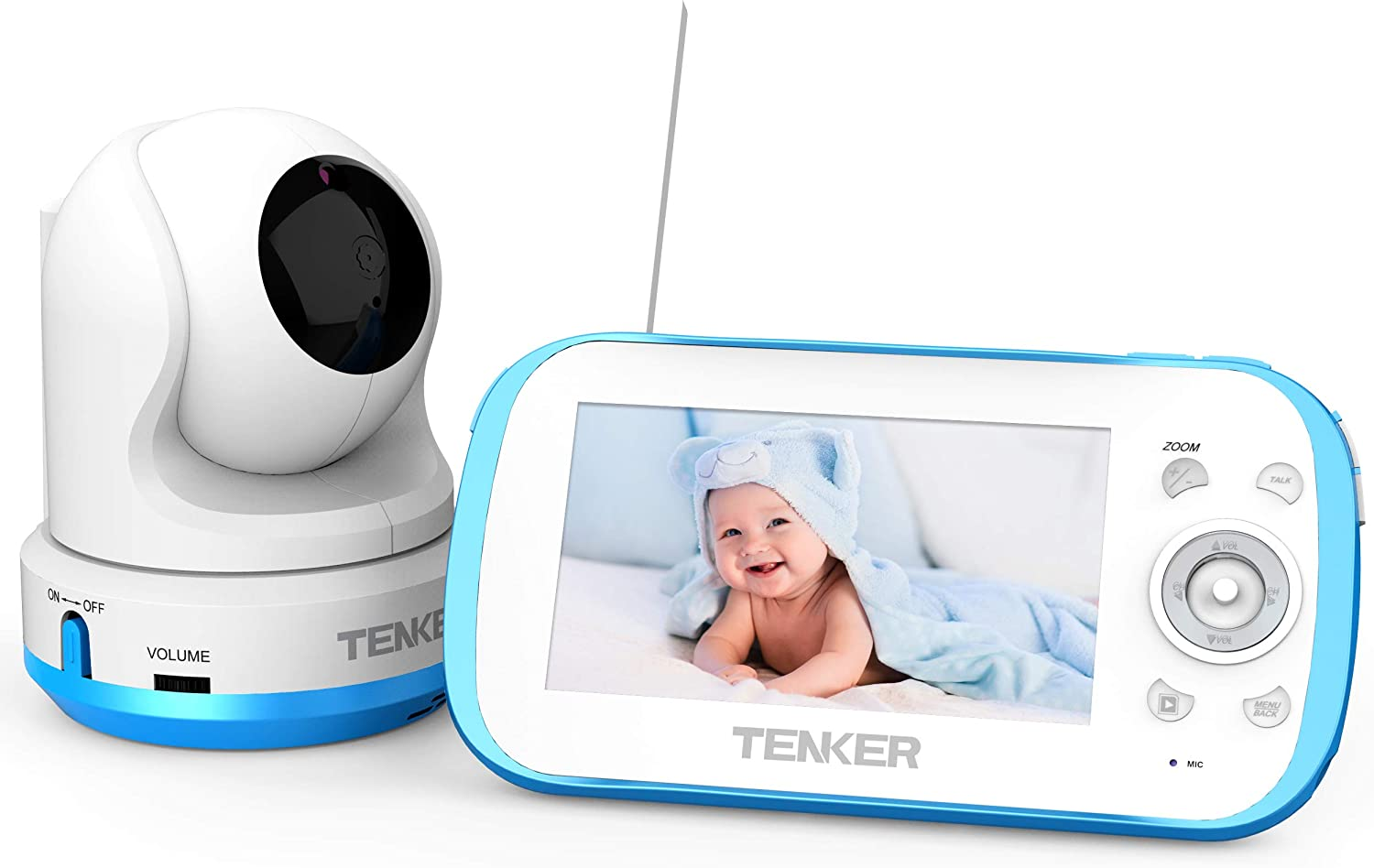 "TENKER Video Baby Monitor with Camera and Audio, 4.3"" LCD Baby Monitor with Night Vision, Non-WiFi, VOX, Lullaby, Two Way Talk, Temperature Detection, 270°Pan-Tilt-Zoom and Video Record"
