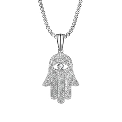 Amazon com: Iced Out Cuban Chain Fatima Hand Pendant Necklace Evil
