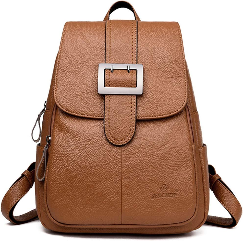 Women Leather Backpacks Female Large Capacity Travel Backpack For Girls School Backpacks brown backpack