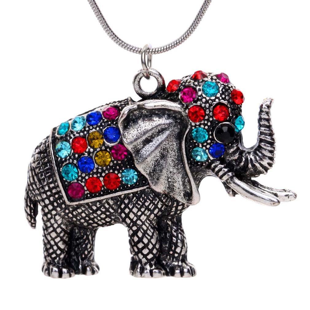 Tibetan Silver Colorful Crystal Cute Elephant Pendant Necklace