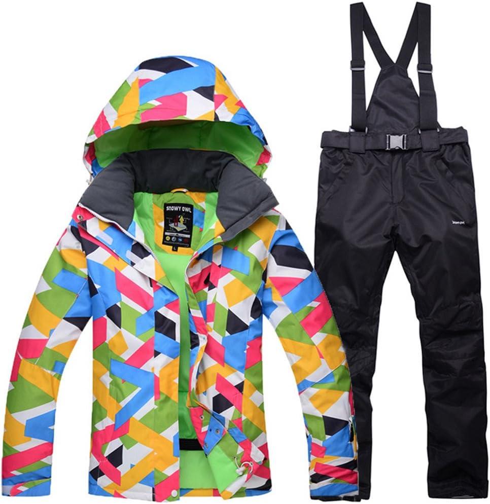 レディーススキージャケットパンツ防風、防水、保温/ウォームスキー/スノーボード/ウィンタースポーツポリエステル衣類スーツスキーウェア 黒 Medium