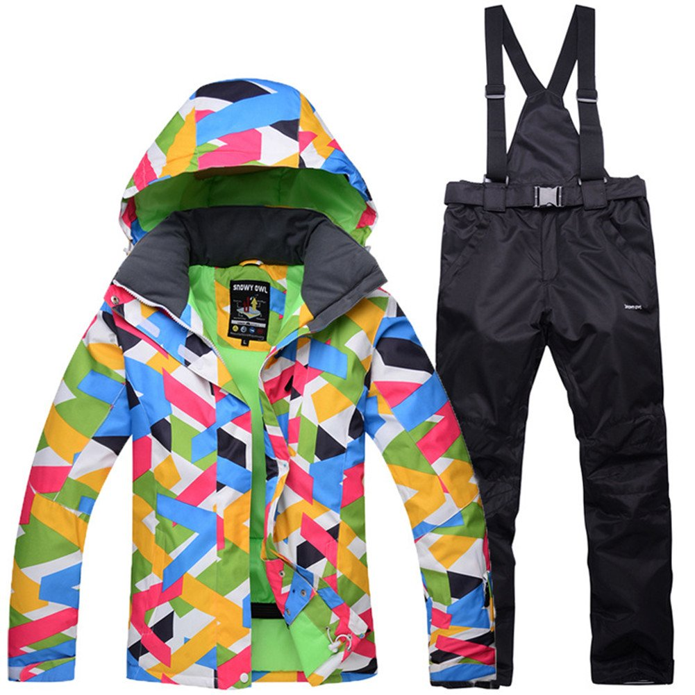 Black Women's Ski Jacket with Pants Windproof, Waterproof, Thermal Warm Ski Snowboard Winter Sports Polyester Clothing Suit Ski Wear
