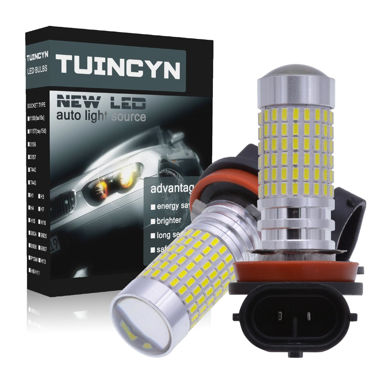 TUINCYN H7 1500 Lumens 3014 144 SMD LED Bulbs Super Bright Xenon White Automotive Exterior Fog Lights Daytime Running Lights with Lens Pack of 2