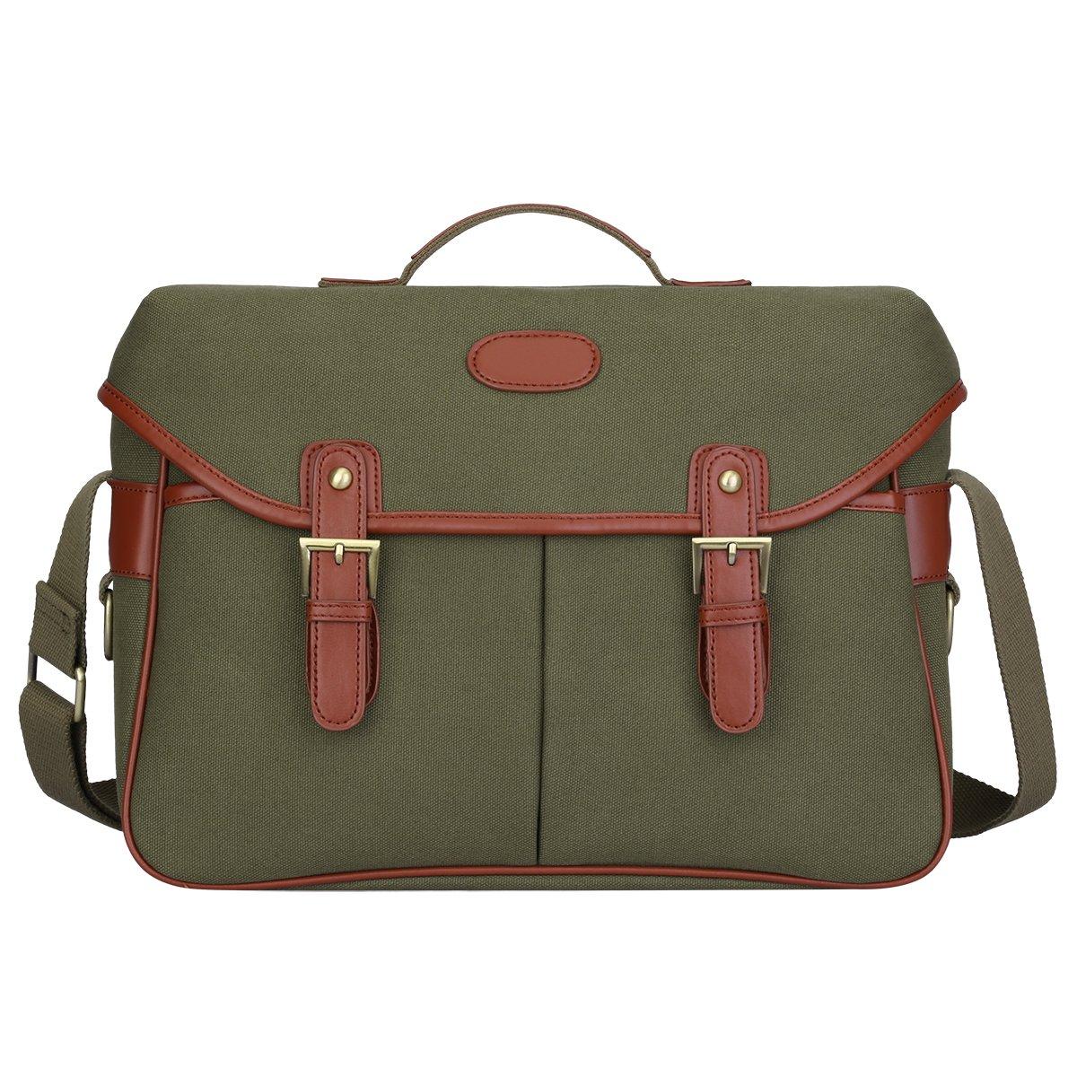 S-ZONE Fashion Canvas DSLR SLR Vintage Camera Bag Messenger Bag (Army Green)