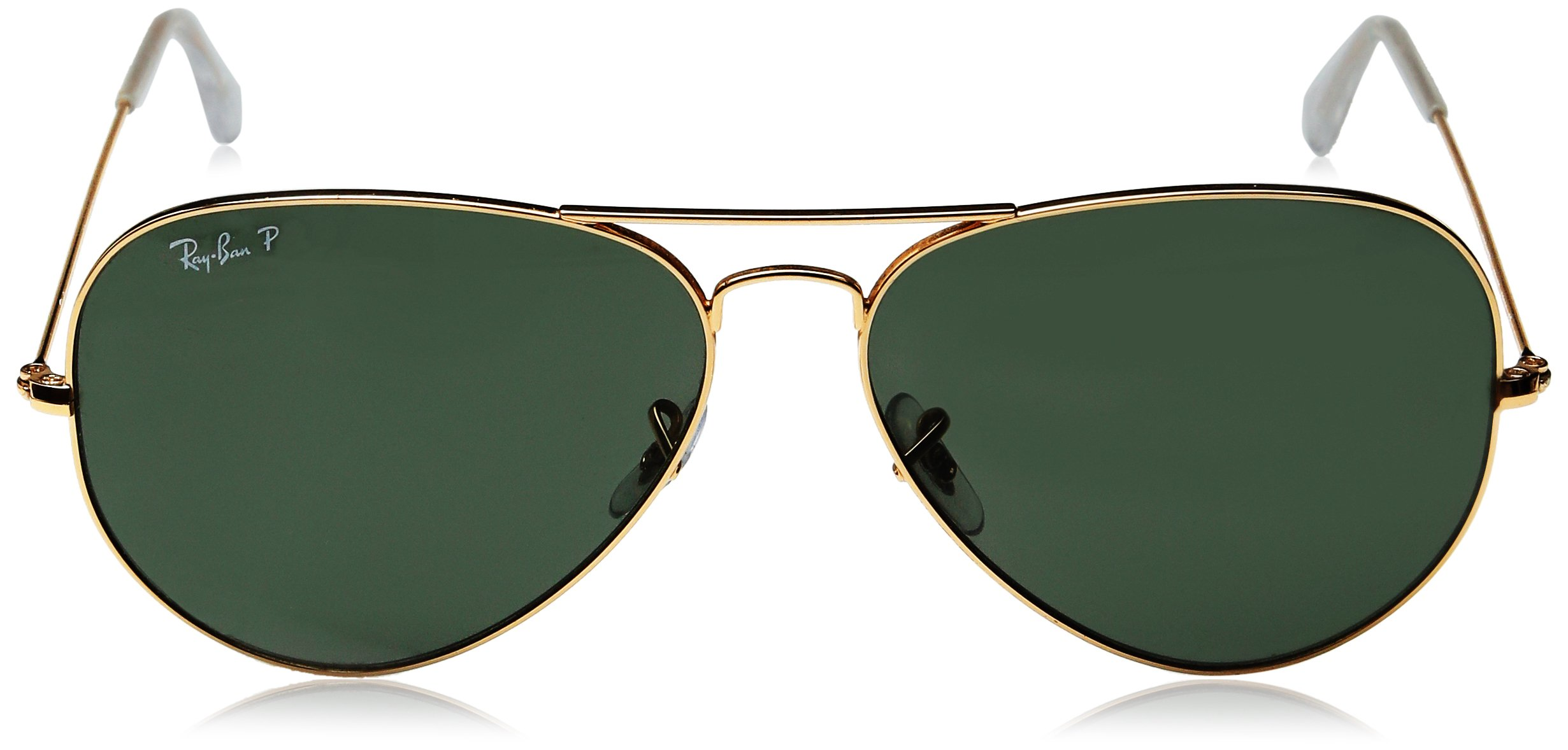 Ray-Ban 3025 Aviator Large Metal Non-Mirrored Polarized Sunglasses, Gold/Green, 62mm by Ray-Ban (Image #2)