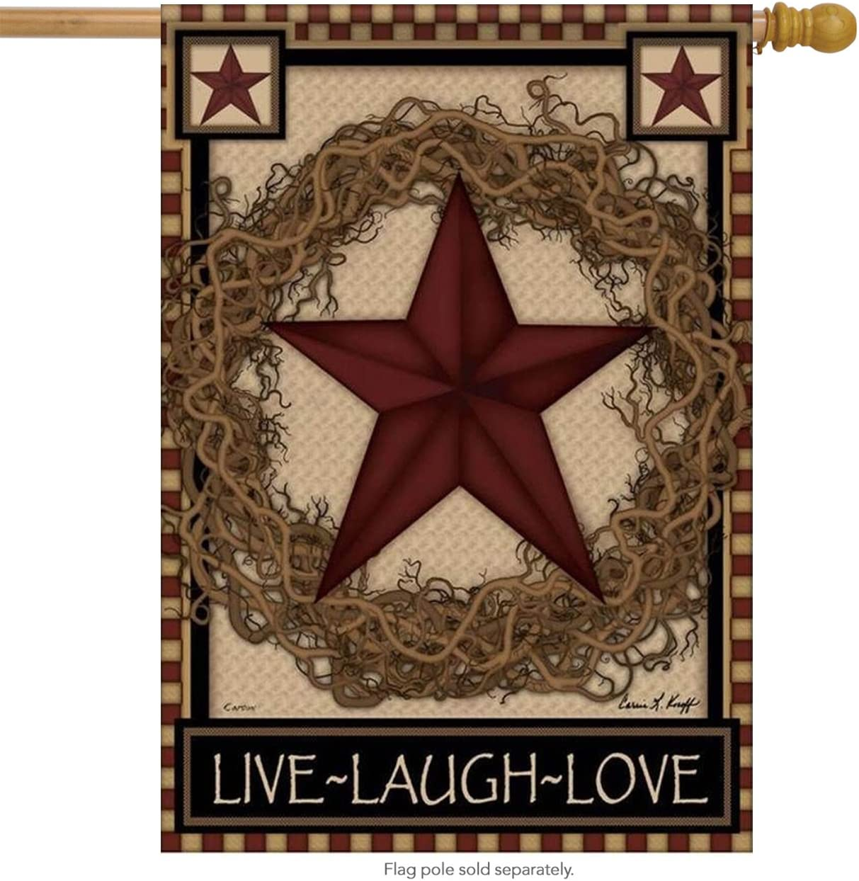 Carson Country Primitive Barn Star Wreath Live Laugh Love Double Sided House Flag