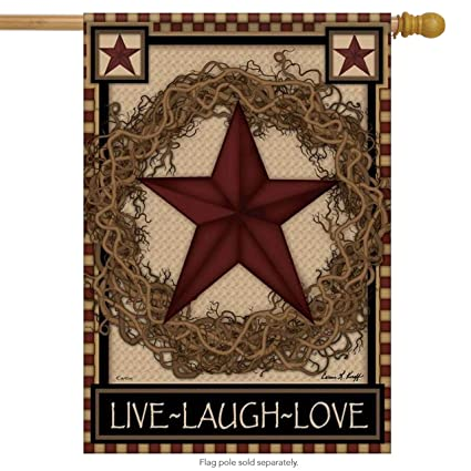 b2aa9a376a34 Image Unavailable. Image not available for. Color  Country Primitive Barn  Star Wreath Live Laugh Love Double Sided House Flag