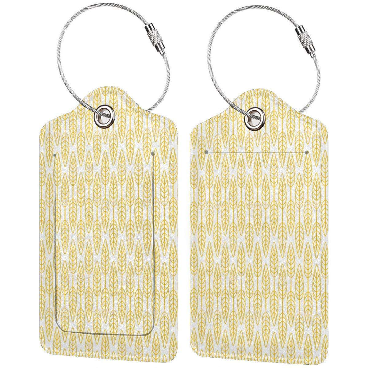 Wheat Leather Luggage Tags Personalized Extra Address Cards With Privacy Flap