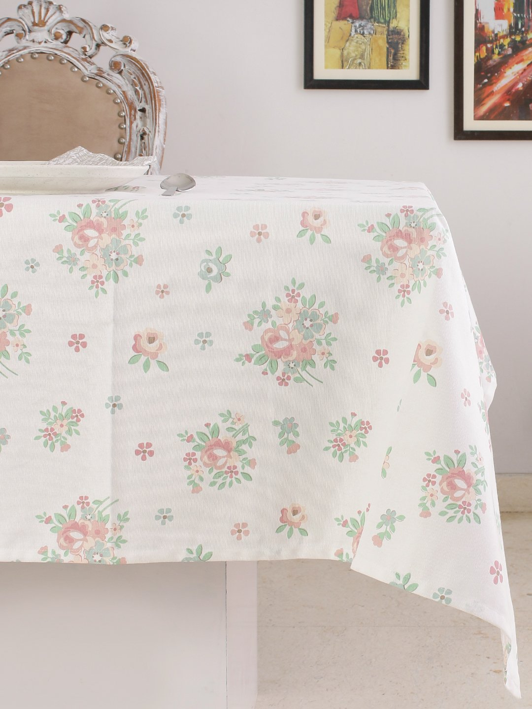 Table Cloth, 100% Cotton, Rectangular Table Cloth of Size 60X 102 Inch, Eco - Friendly & Safe, Pink English Flowers Design for Kitchen by Plush Home