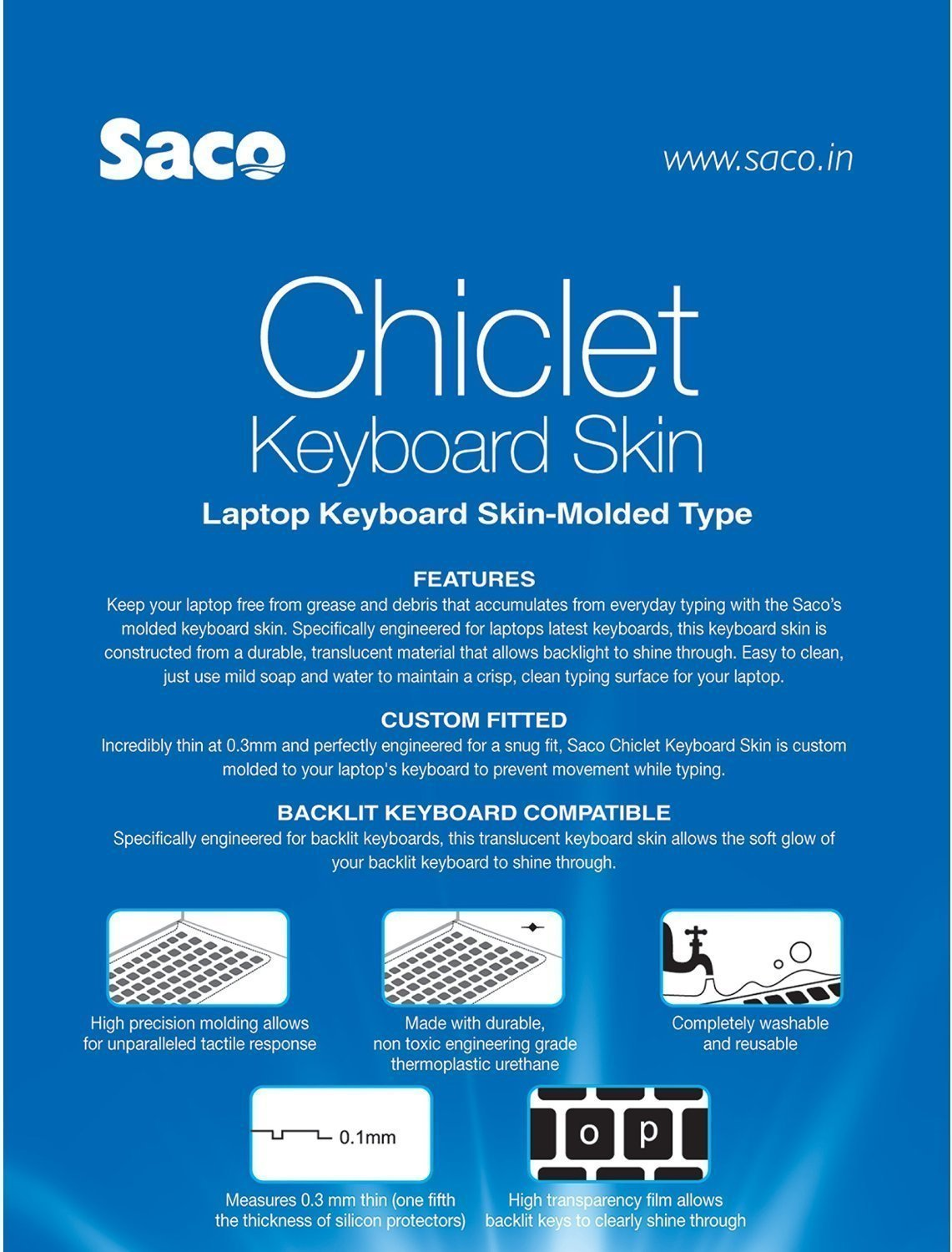 Transparent Saco Chiclet Keyboard Skin for HP 15-d103tx Notebook/