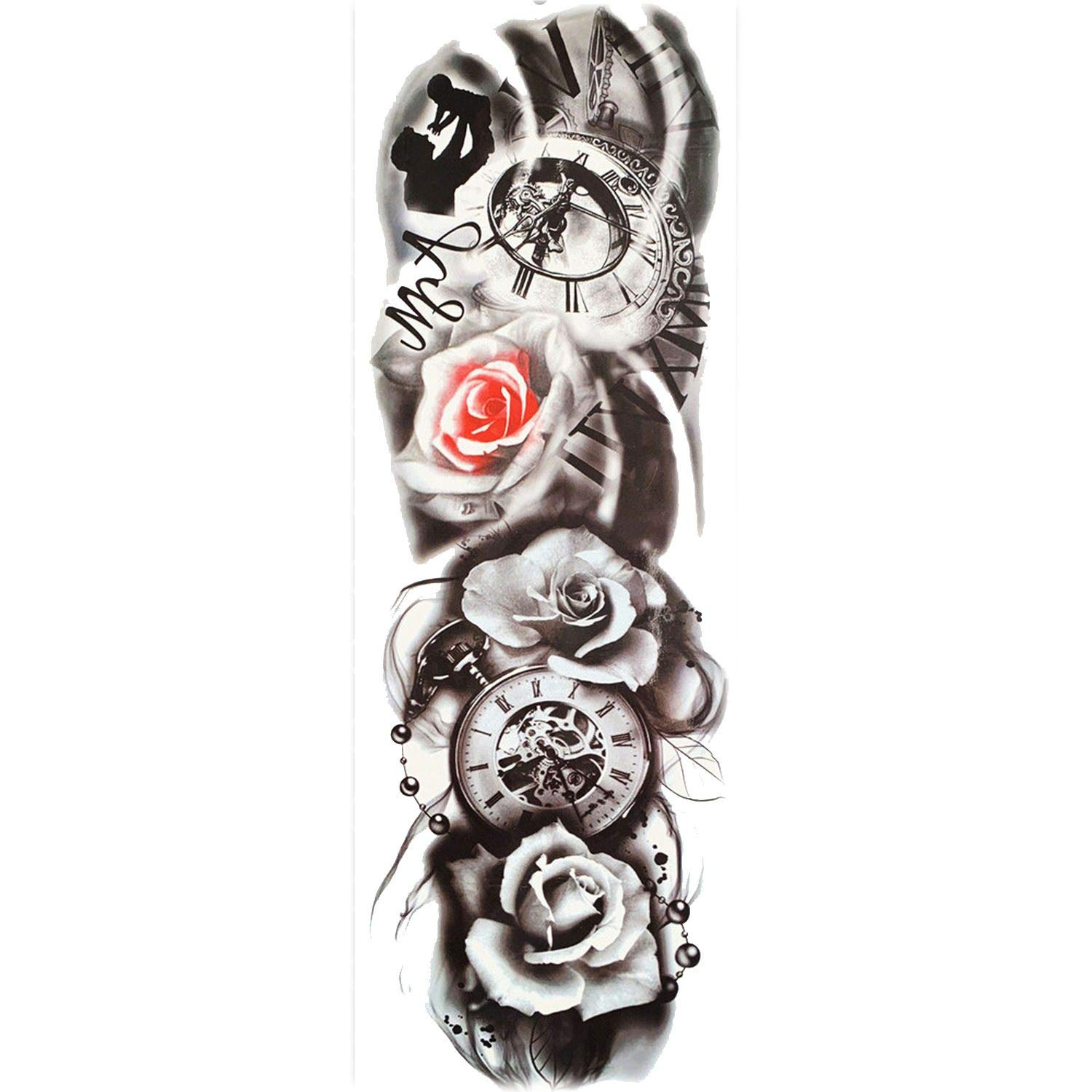 Amazon Com Sexy Long Full Arm Rose Clock Temporary Tattoos For
