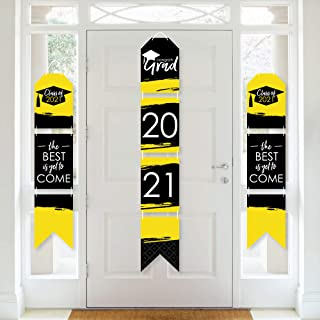 product image for Big Dot of Happiness Yellow Grad - Best is Yet to Come - Hanging Vertical Paper Door Banners - 2021 Yellow Graduation Party Wall Decoration Kit - Indoor Door Decor