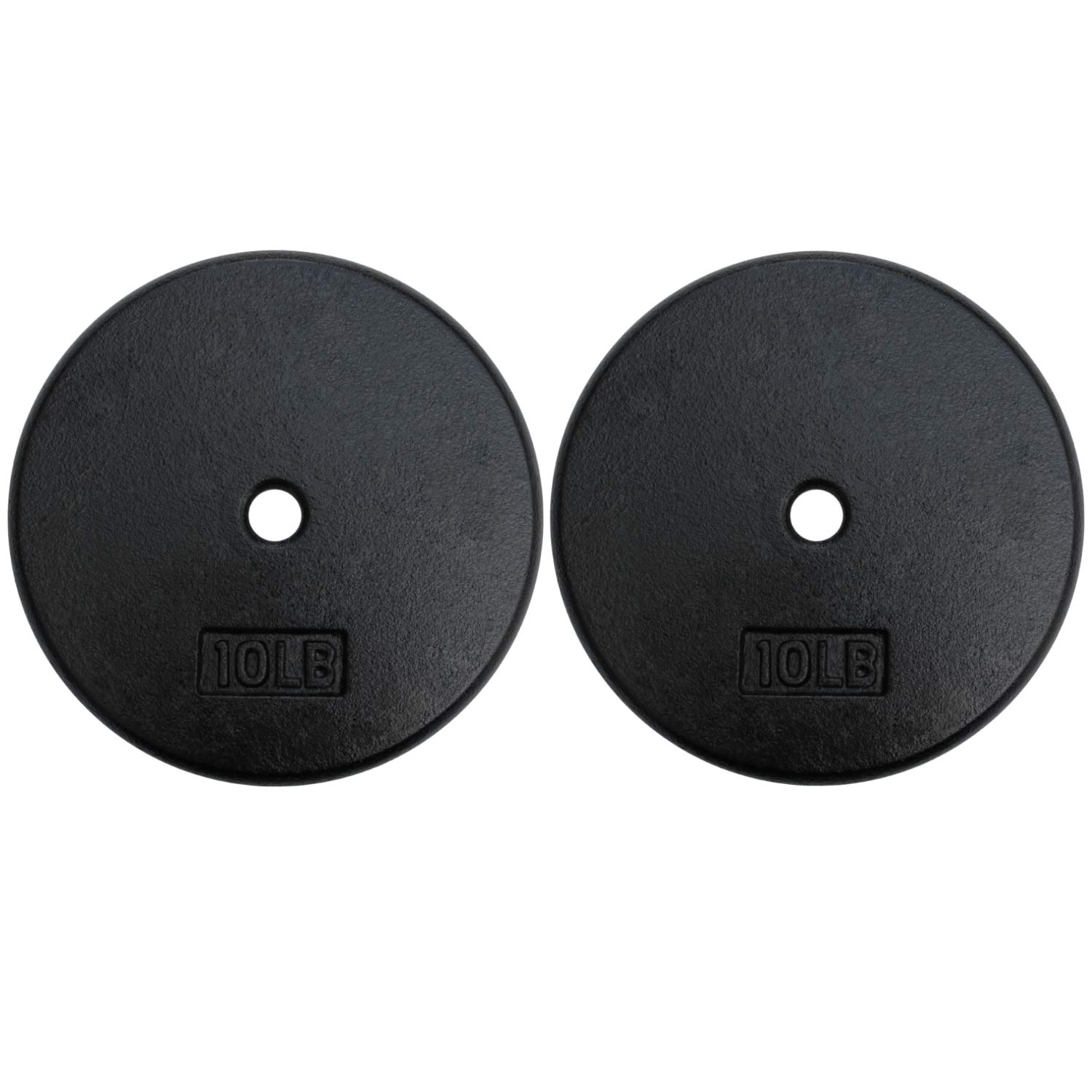 A2ZCARE Standard Cast Iron Weight Plates 1-Inch Center-Hole for Dumbbells, Standard Barbell 10, 15, 20, 25 lbs (10 lbs - Pair)