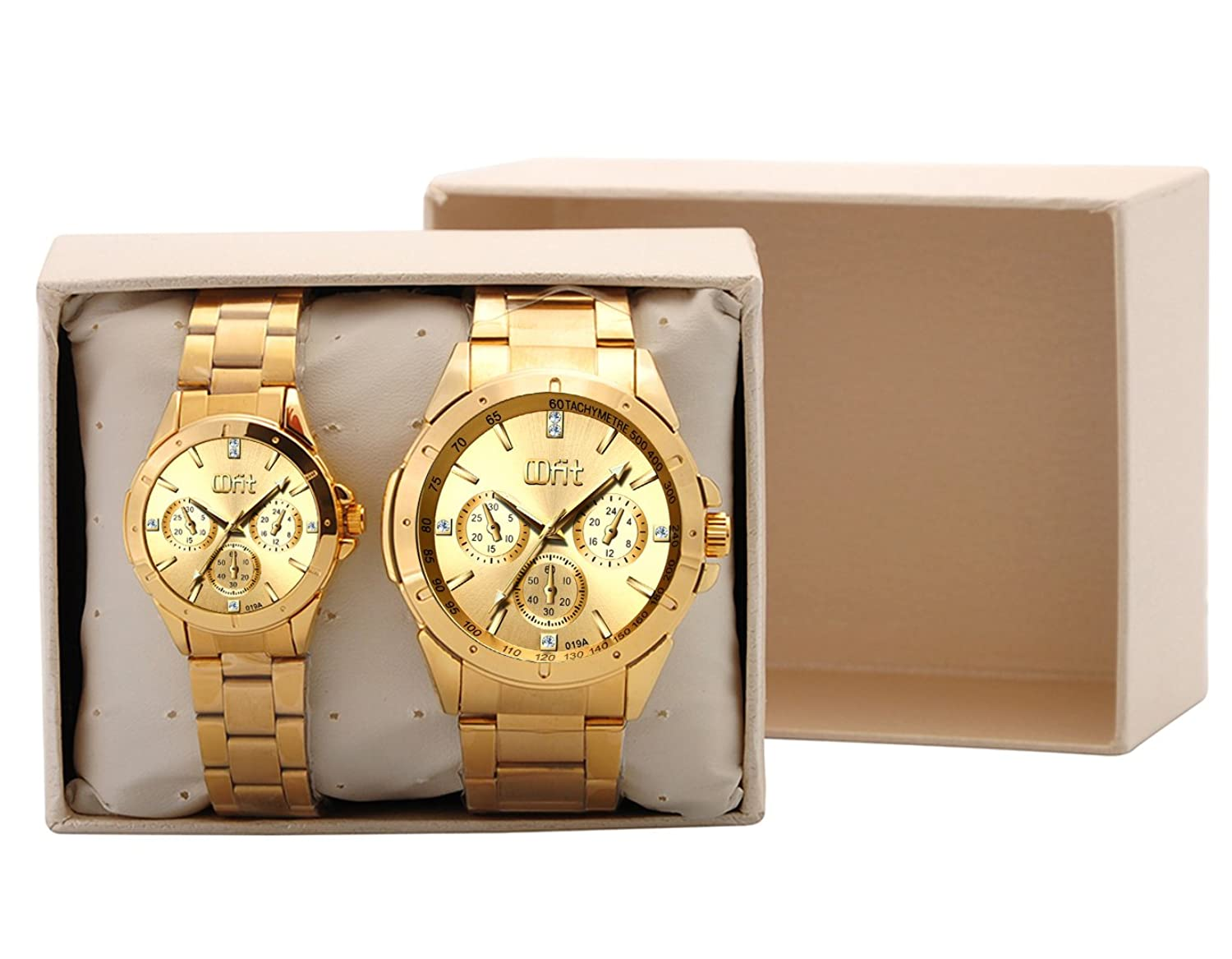 Gold Couple Watches Anniversary Gifts for Him and Her: Amazon.co ...