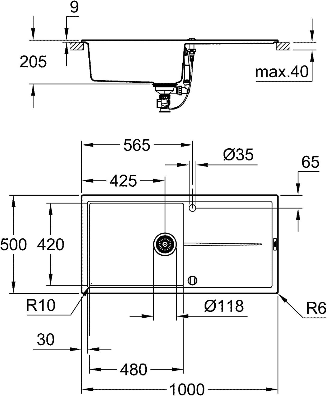 Fregadero de acero inoxidable con escurridor Essence SmartControl Monomando de fregadero GROHE 31615000