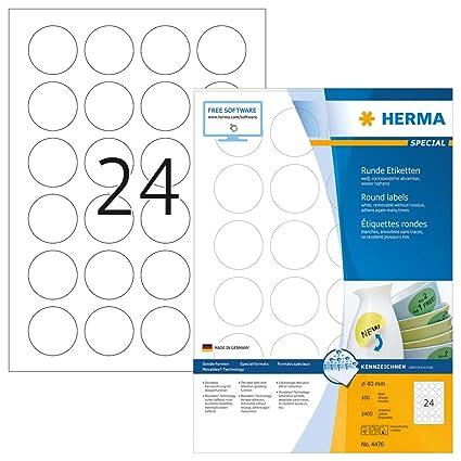 Herma 4476 Universal Etiketten Din A4 Ablösbar ø 40 Mm 100 Blatt Papier Matt Rund Selbstklebend Bedruckbar Abziehbare Und Wieder Haftende
