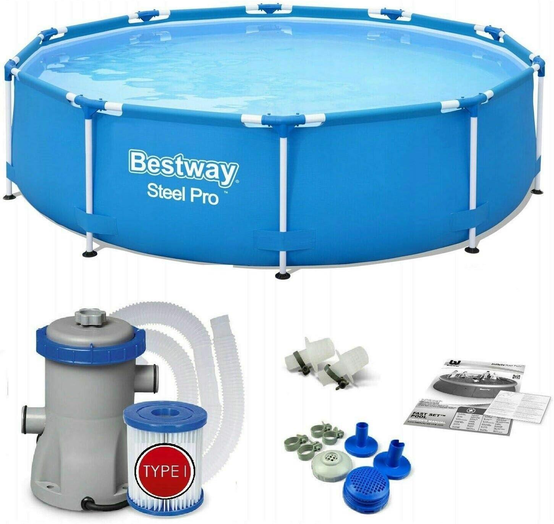 Bestway 56679 – Steel Pro – Piscina exterior redonda 305 x 76 cm, bomba de filtrado incluida