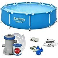 Bestway 56679 | Steel Pro – Piscina exterior redonda 305 x 76 cm, bomba de filtrado incluida