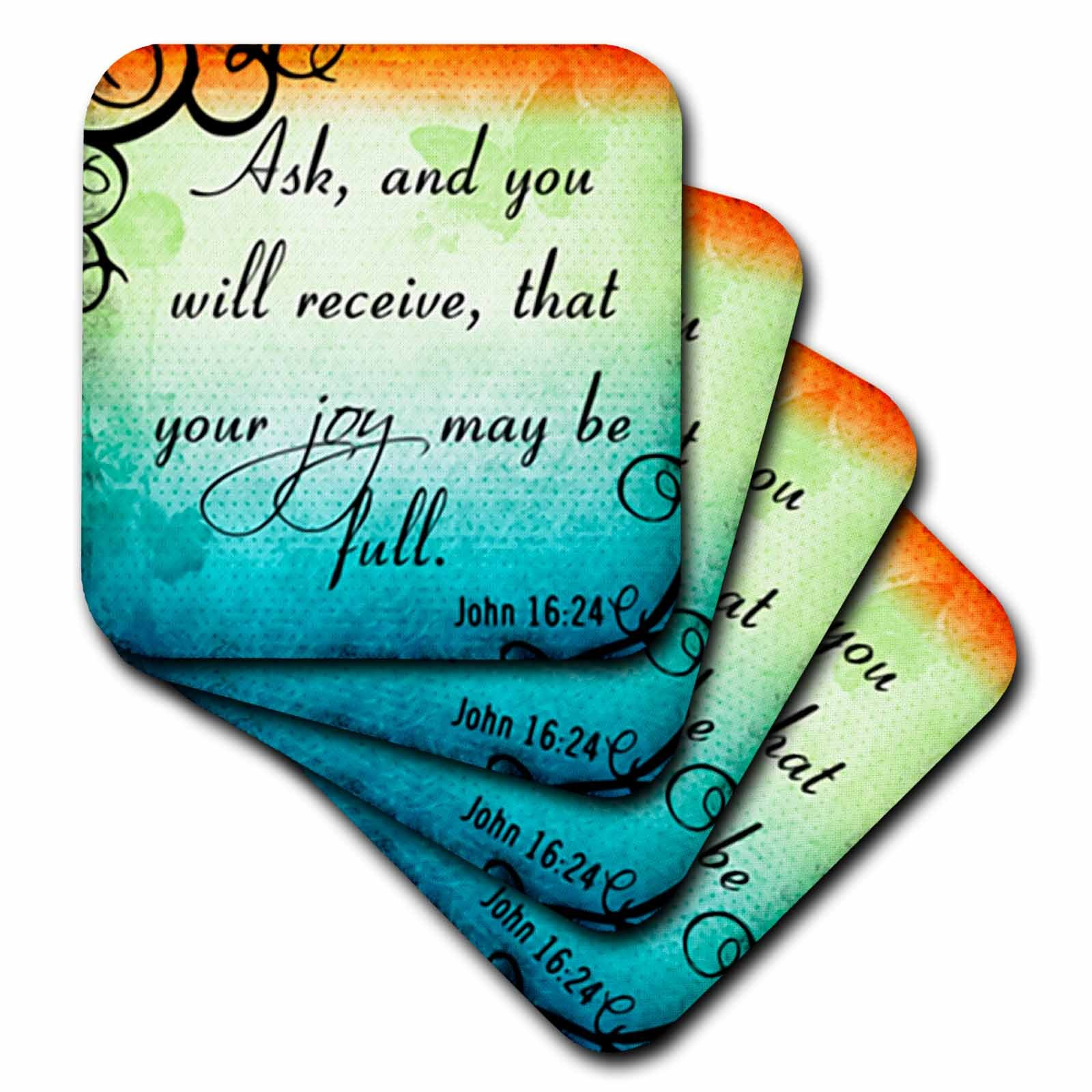 3dRose cst_150079_2 Bible Verse John 16-24 Gradient Vibrant Swirl Bible Christian Inspirational Saying-Soft Coasters, Set of 8
