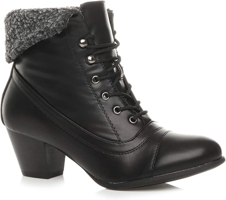 Vintage Boots, Retro Boots Ajvani Womens Ladies mid Heel lace up Vintage Fur Cuff Winter Pixie Ankle Boots Size £27.99 AT vintagedancer.com