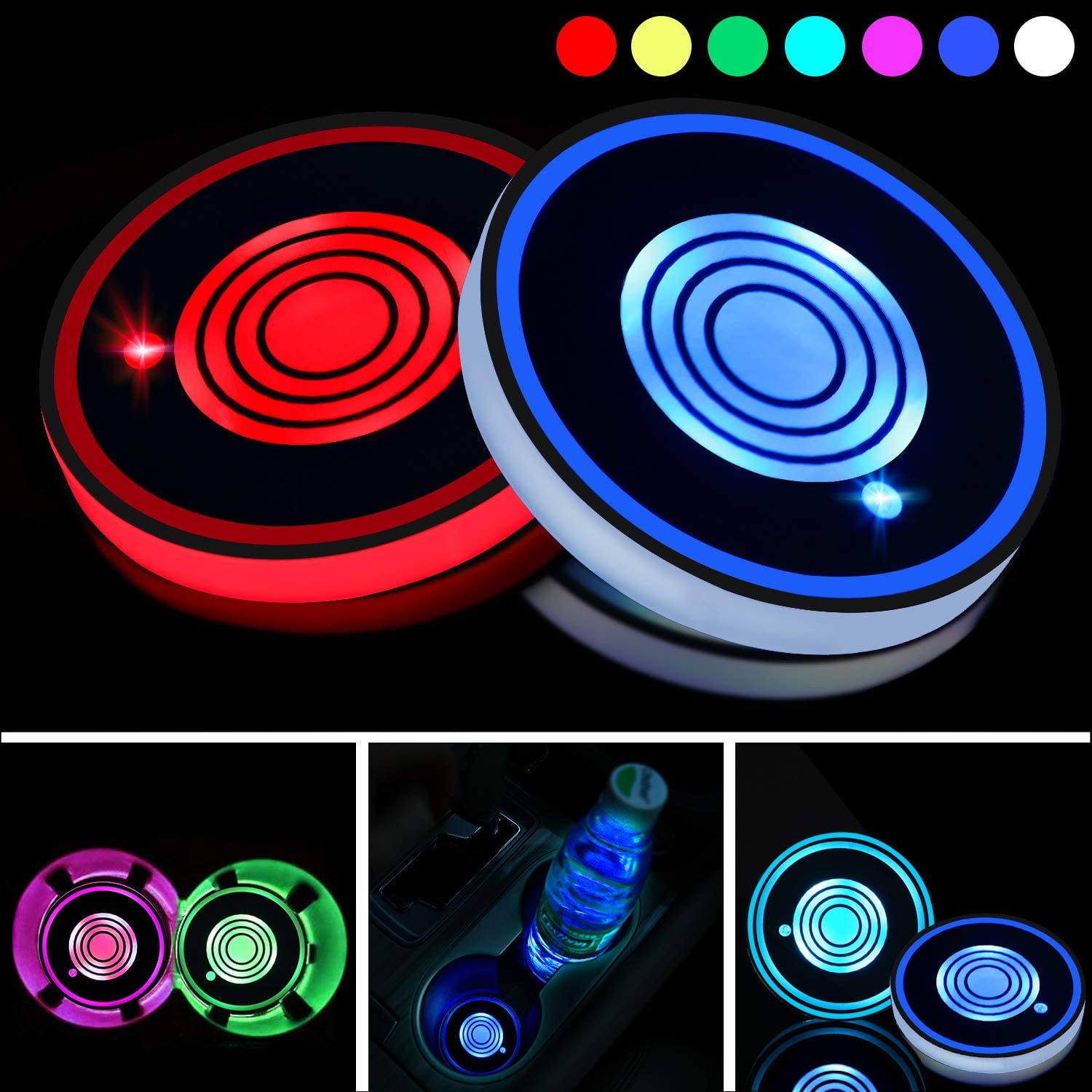 Boao 2 Pieces Led Cup Holder Lights LED Car Coasters 7 Colors Luminescent Cup Pad USB Charging Cup Mat for Drink Coaster Accessories Interior Decoration Atmosphere Light
