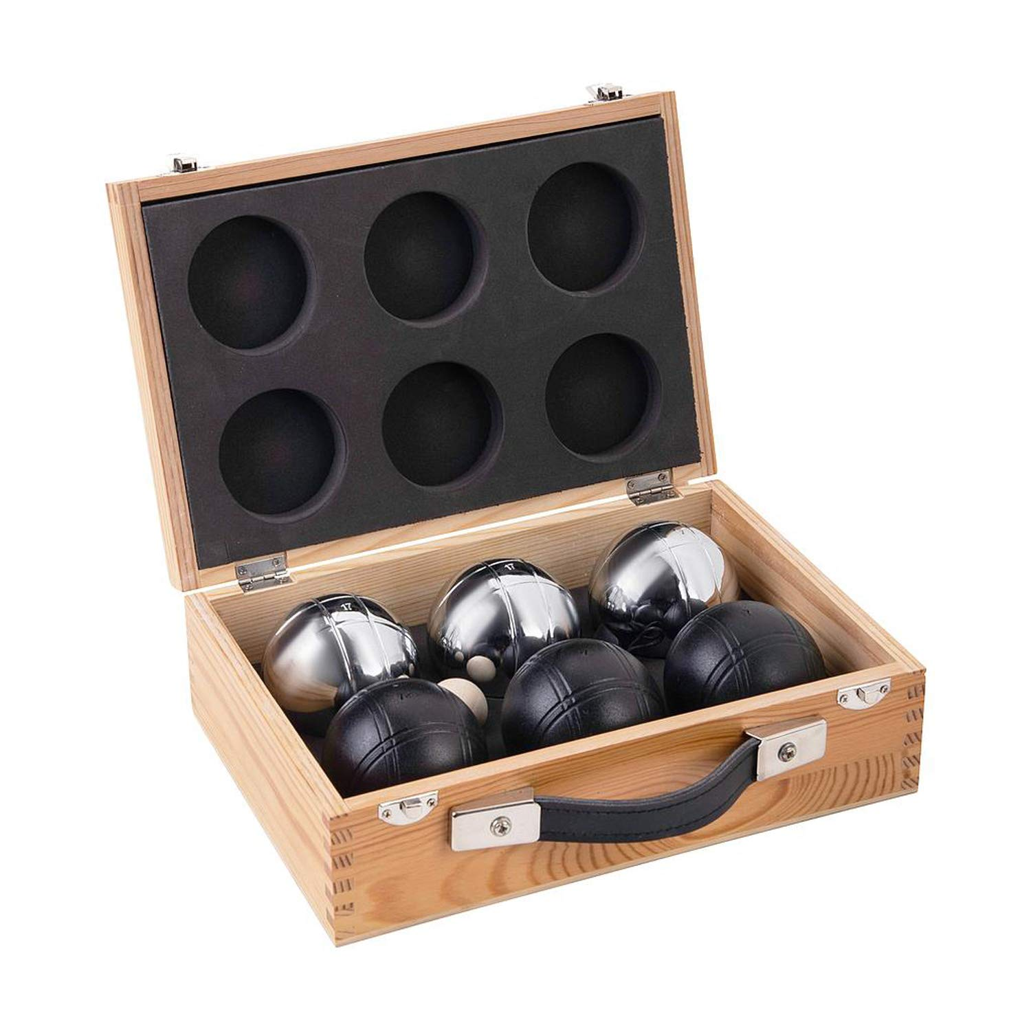 Weiblespiele 010208 Set in Wooden Box, Pack of 6, Black/Silver