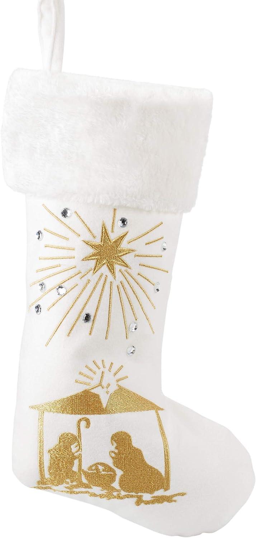 Seasons Designs 19 inch Glitter Nativity Scene Gold Tone On Cream Fabric Christmas Stocking