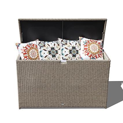 Orange Casual Patio Aluminum Frame Resin Wicker Storage Bin Deck Box  140 Gal (Tan