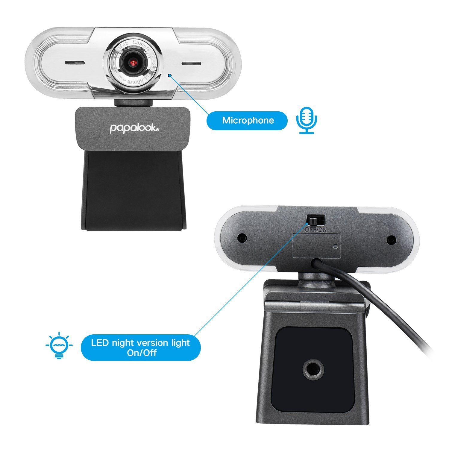 PAPALOOK 1080P HD Webcam, USB PC Computer Camera PA452 PRO Web Camera, Built-in Mic for Video Skype YouTube Compatible with Windows 7/8/10 by papalook (Image #4)