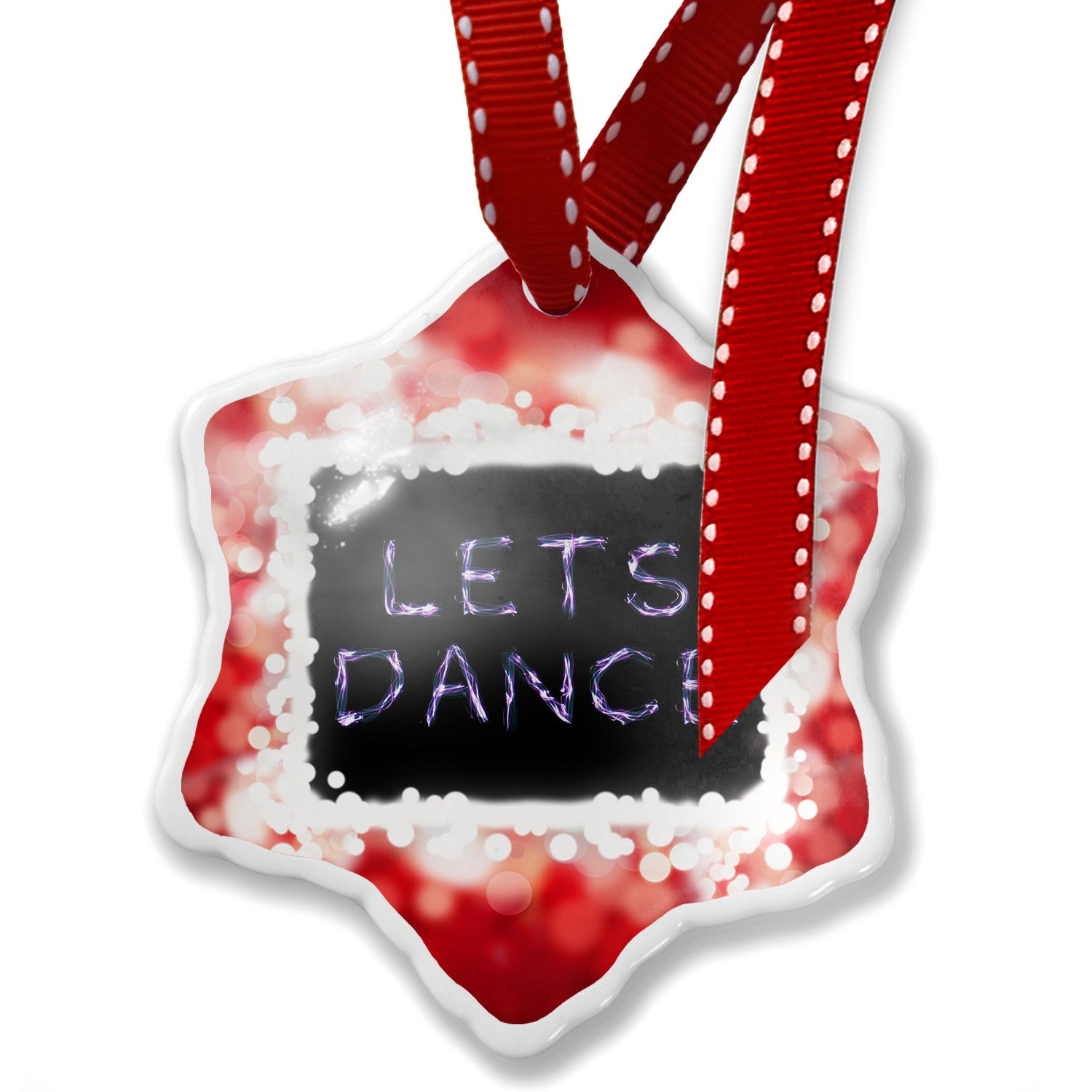 Christmas Ornament Lets Dance Neon Light Graffiti, red - Neonblond