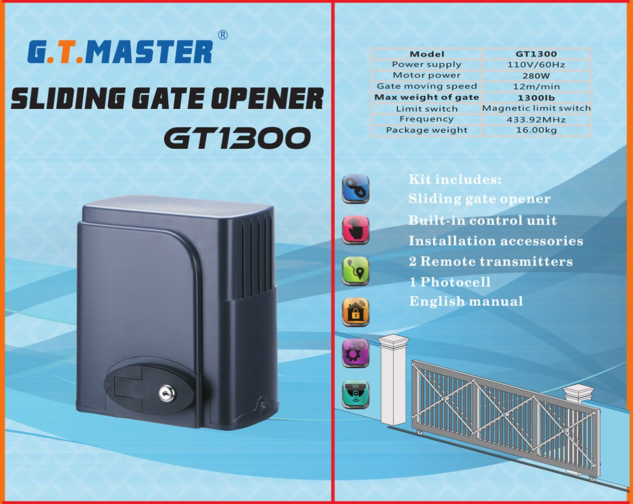 Gtmaster Sliding Automatic Gate Opener Kit Driveway Business Industrial Gt Electrical Test Equipment Motors Security Door Operator Hardware With Two Transmitters And Infrared Photocell Sensor