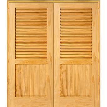 National Door Company Z022684BA Unfinished Pine Wood 1 Panel Half Louver  72u0026quot;x80u0026quot;